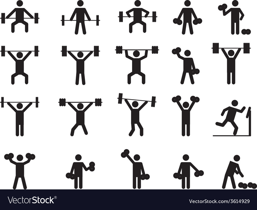 Pictogram people with weights vector | Price: 1 Credit (USD $1)
