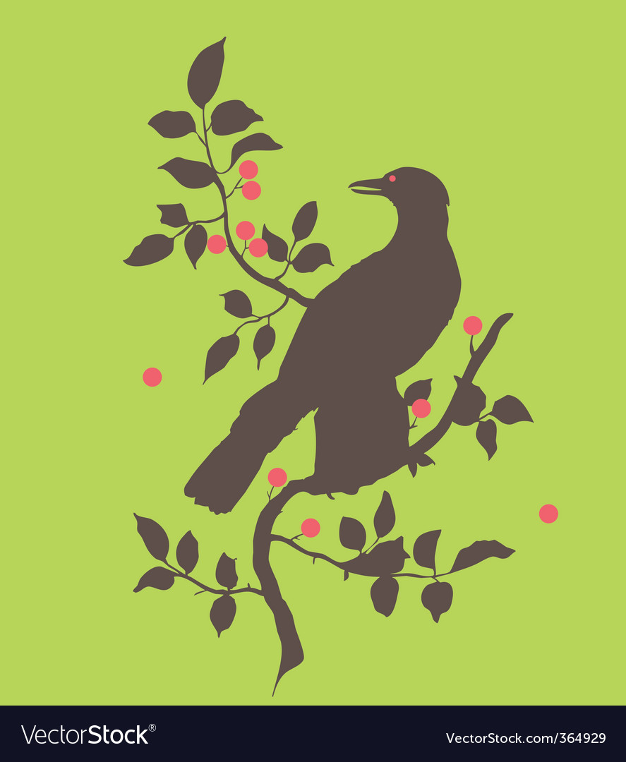Raven on branch vector | Price: 1 Credit (USD $1)