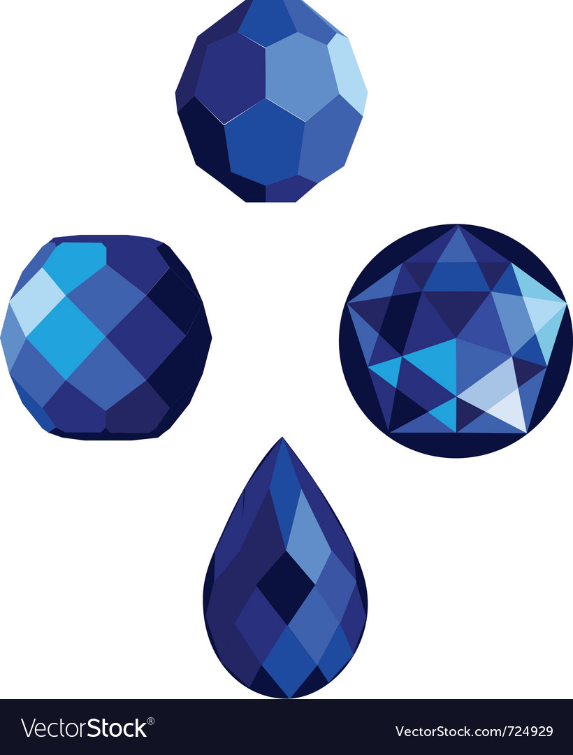 Sapphire blue faceted beads vector | Price: 1 Credit (USD $1)