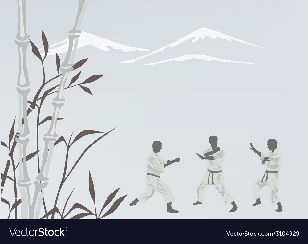 Three men are engaged in karate vector | Price: 1 Credit (USD $1)