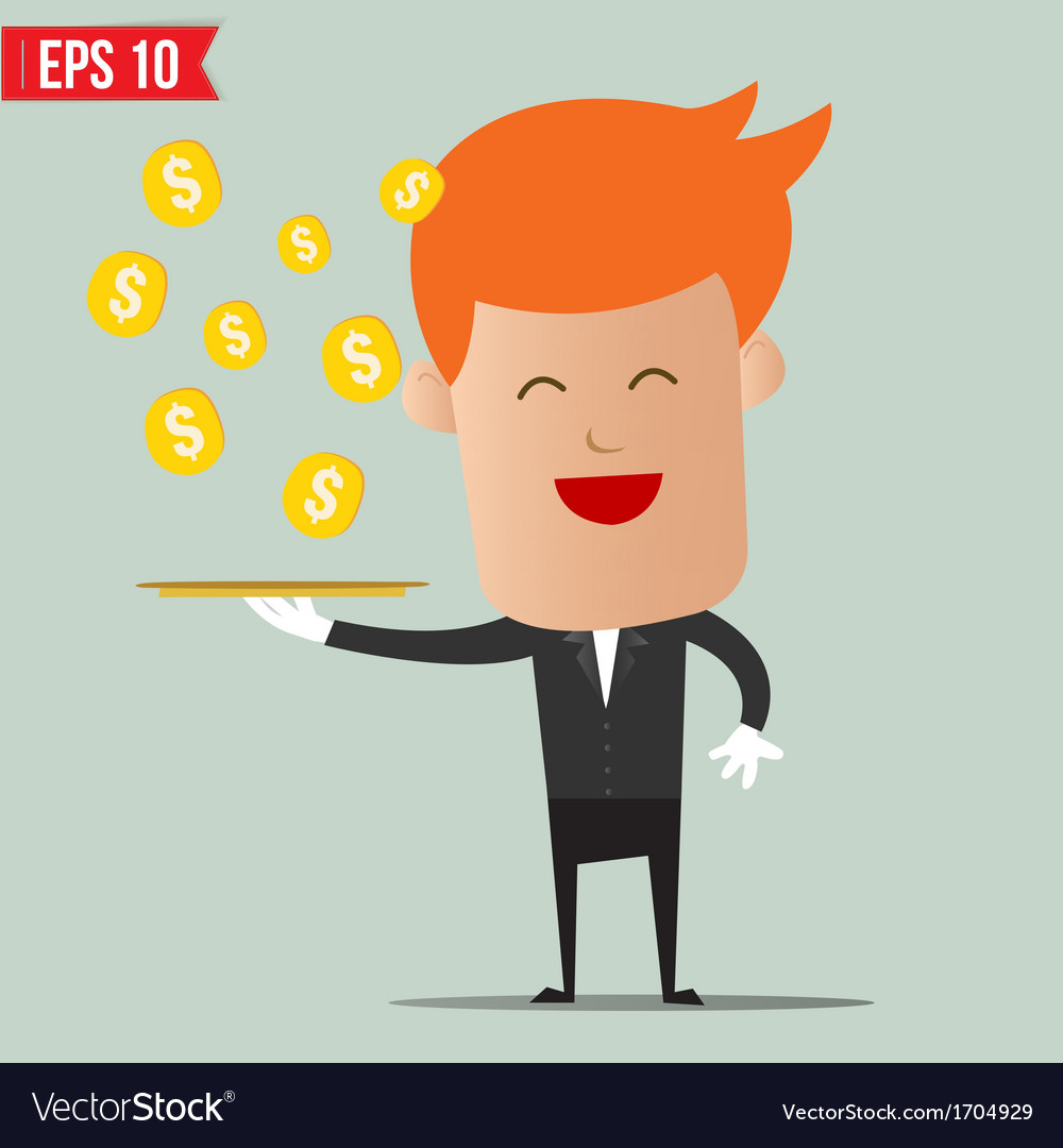 Waiter serving money - - eps10 vector | Price: 1 Credit (USD $1)