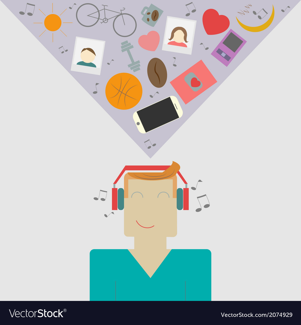 Young man is listening music vector | Price: 1 Credit (USD $1)