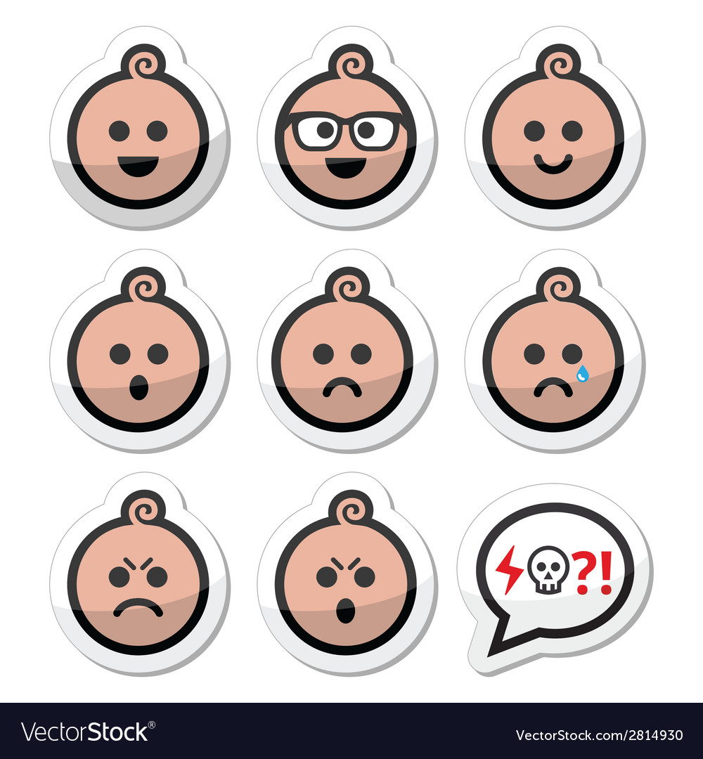 Baby boy faces avatar icons set vector | Price: 1 Credit (USD $1)