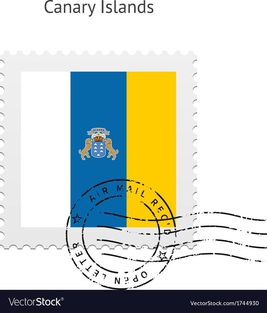 Canary islands flag postage stamp vector   Price: 1 Credit (USD $1)