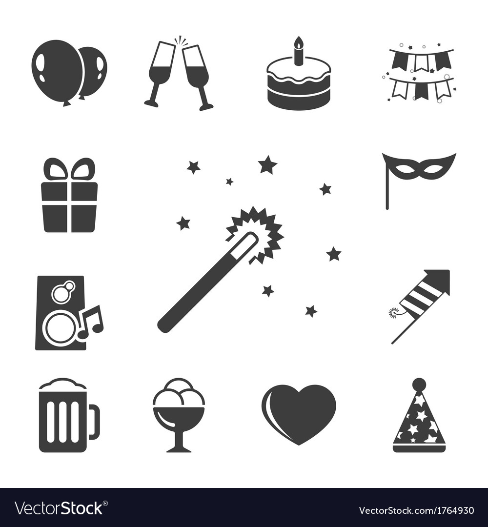 Celebration iconset contrast flat vector | Price: 1 Credit (USD $1)