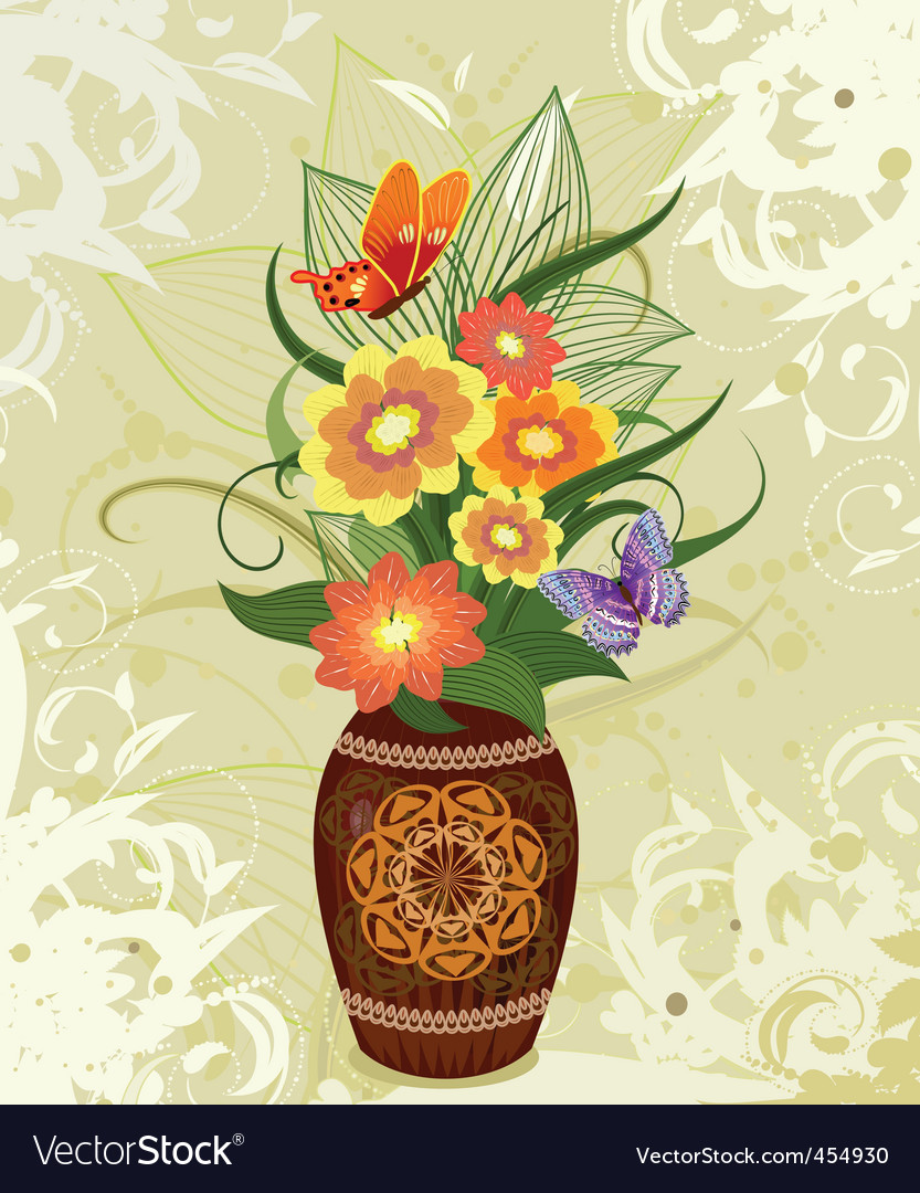 Decorative flower in a vase vector | Price: 1 Credit (USD $1)