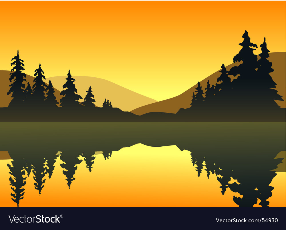 Lake sunset vector | Price: 1 Credit (USD $1)