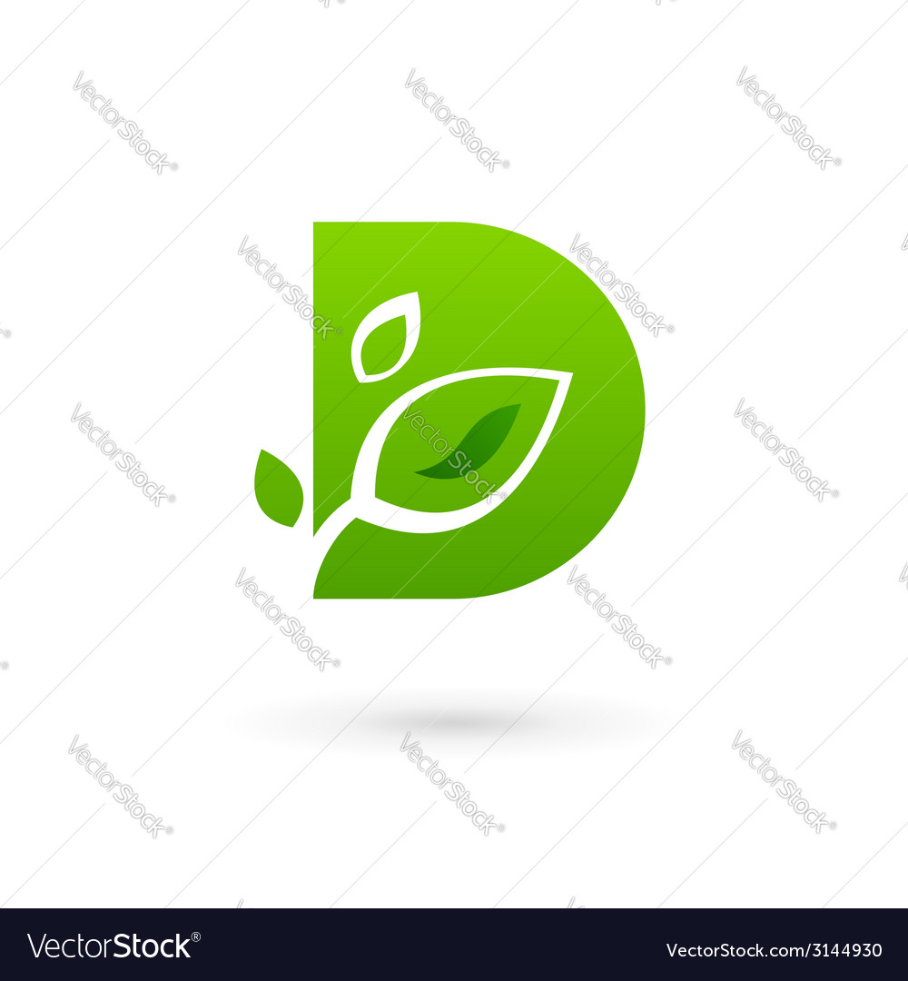 Letter d eco leaves logo icon design template vector | Price: 1 Credit (USD $1)
