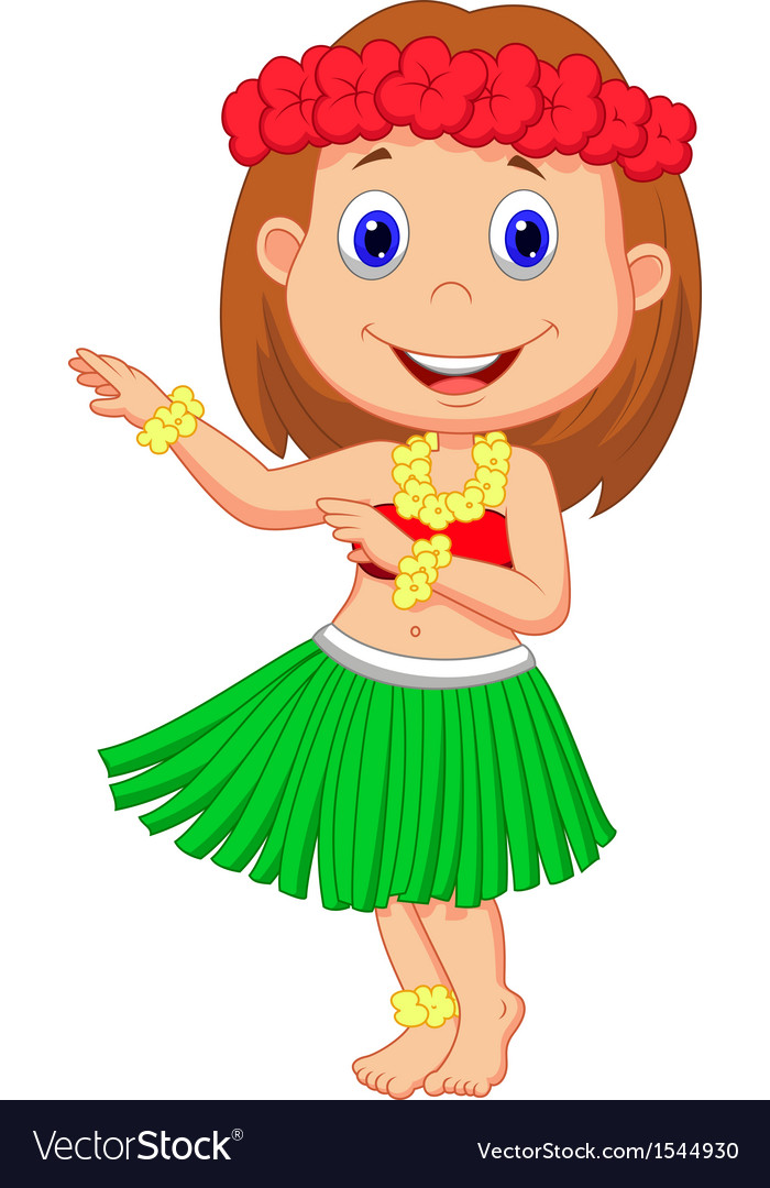 Little hula girl cartoon vector | Price: 1 Credit (USD $1)