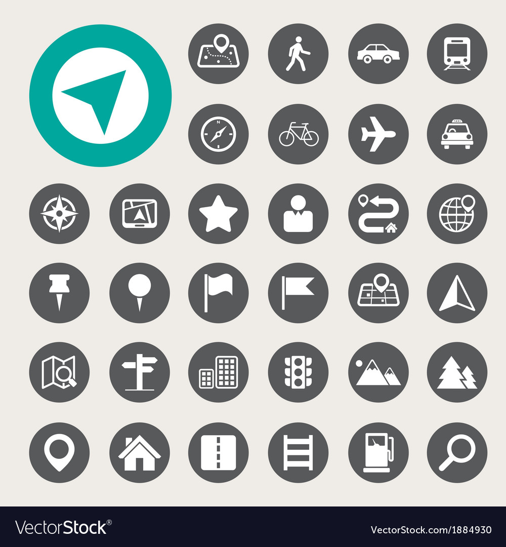 Map and location icons set vector | Price: 1 Credit (USD $1)