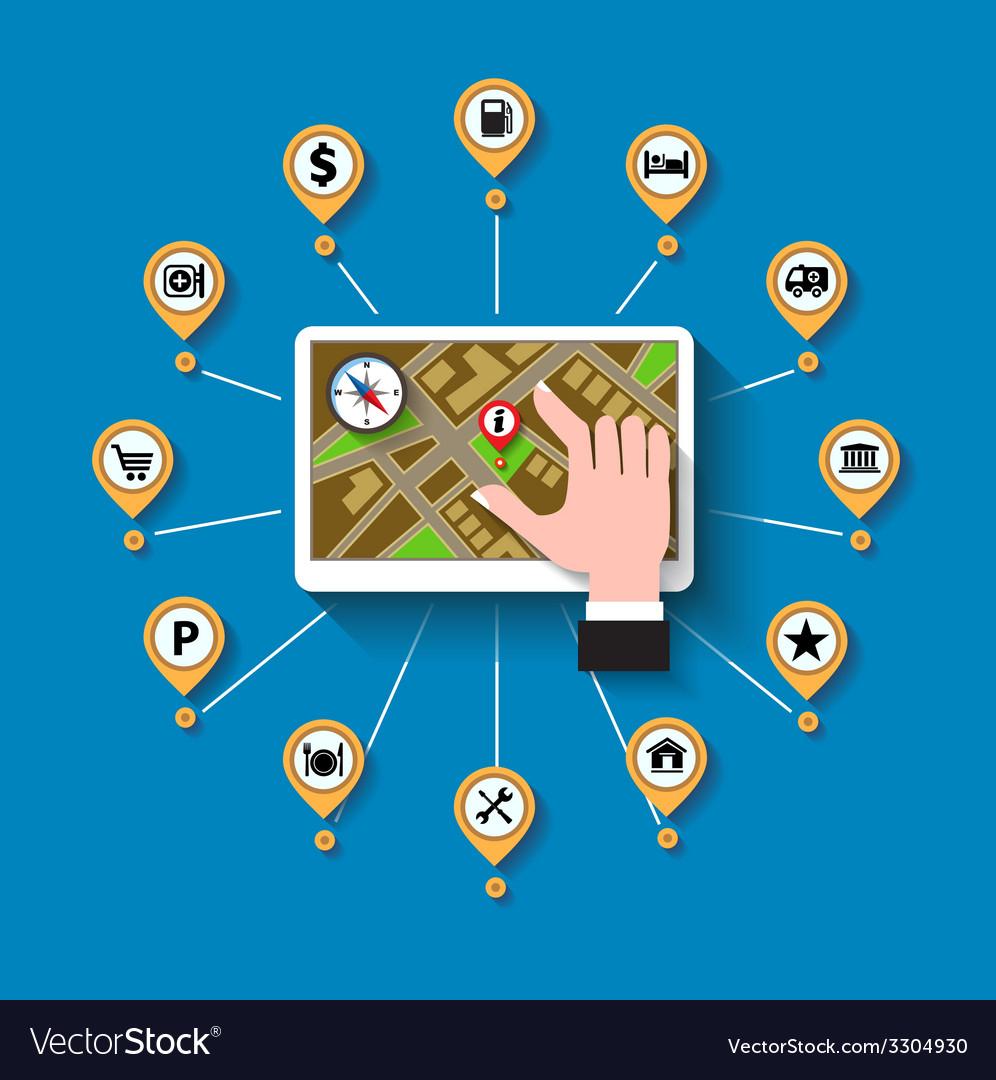 Mobile gps navigation vector   Price: 1 Credit (USD $1)