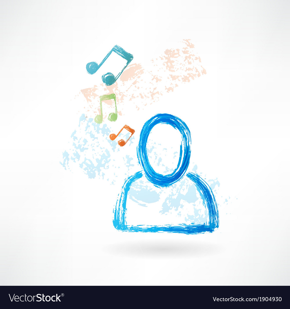 Person with music grunge icon vector | Price: 1 Credit (USD $1)
