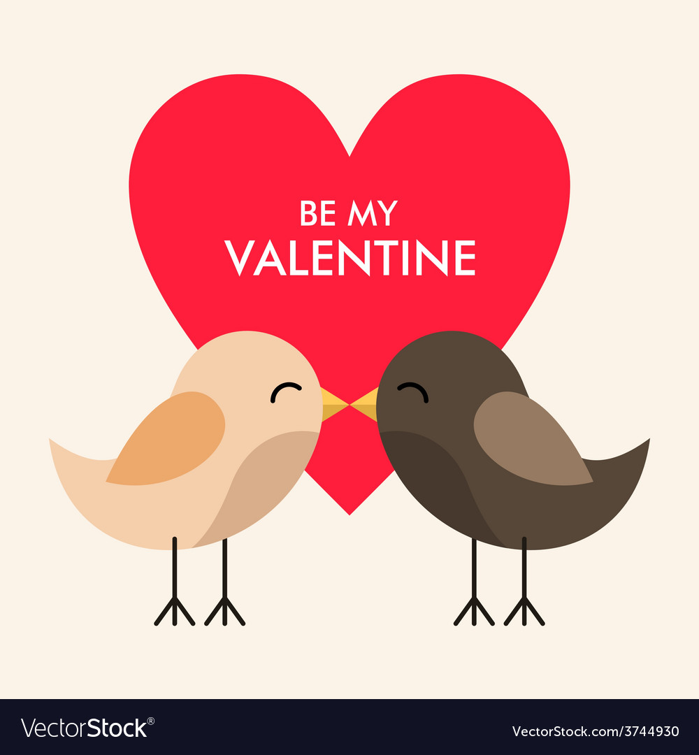 St valentines day greeting card in flat style two vector | Price: 1 Credit (USD $1)