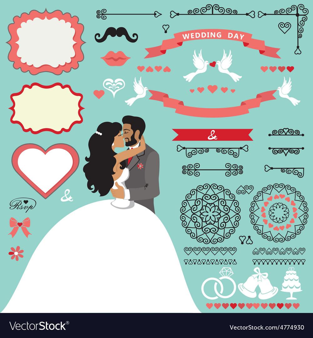 Wedding invitation decor set with kissing couple vector | Price: 1 Credit (USD $1)