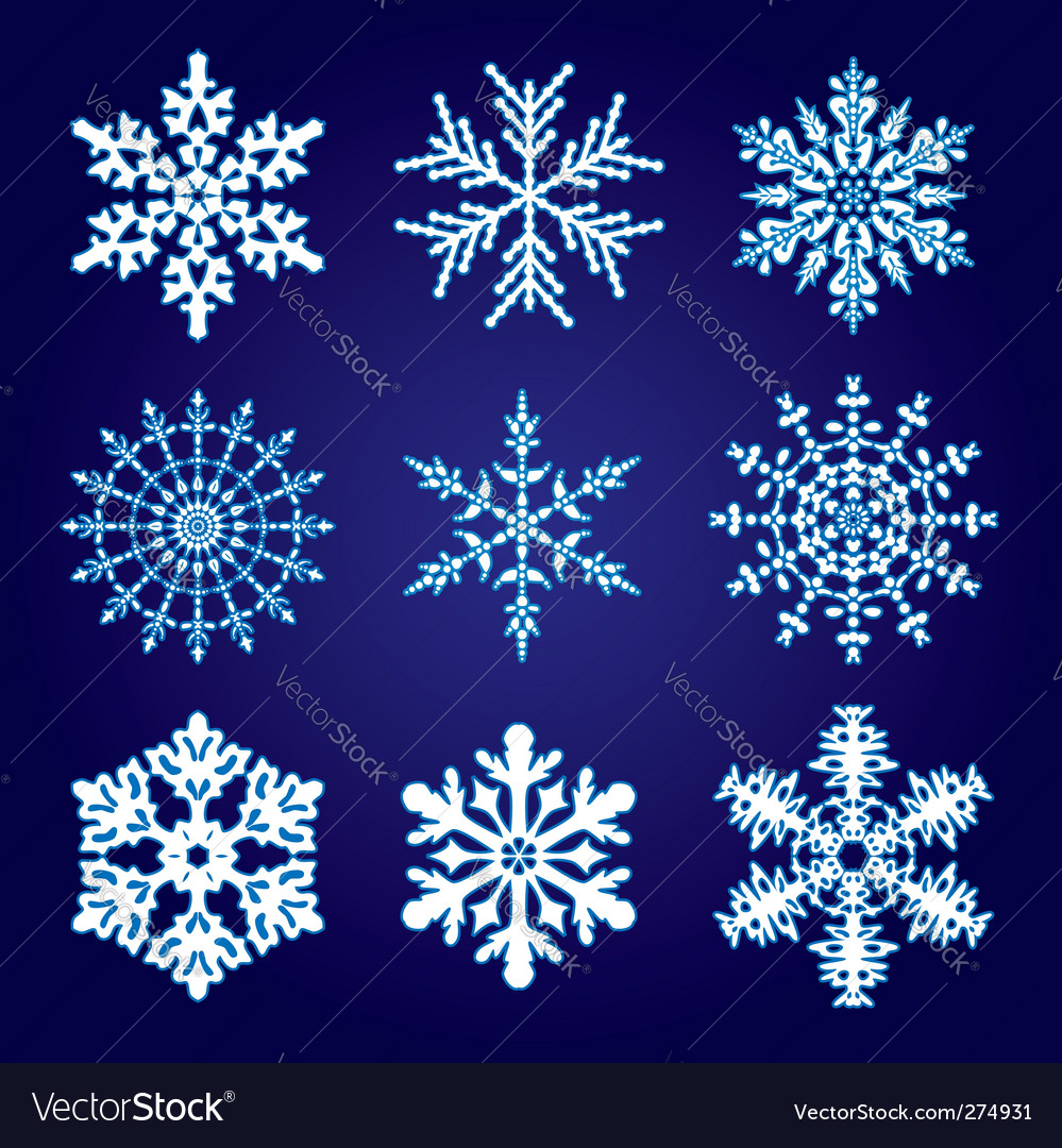 9 snowflakes vector | Price: 1 Credit (USD $1)