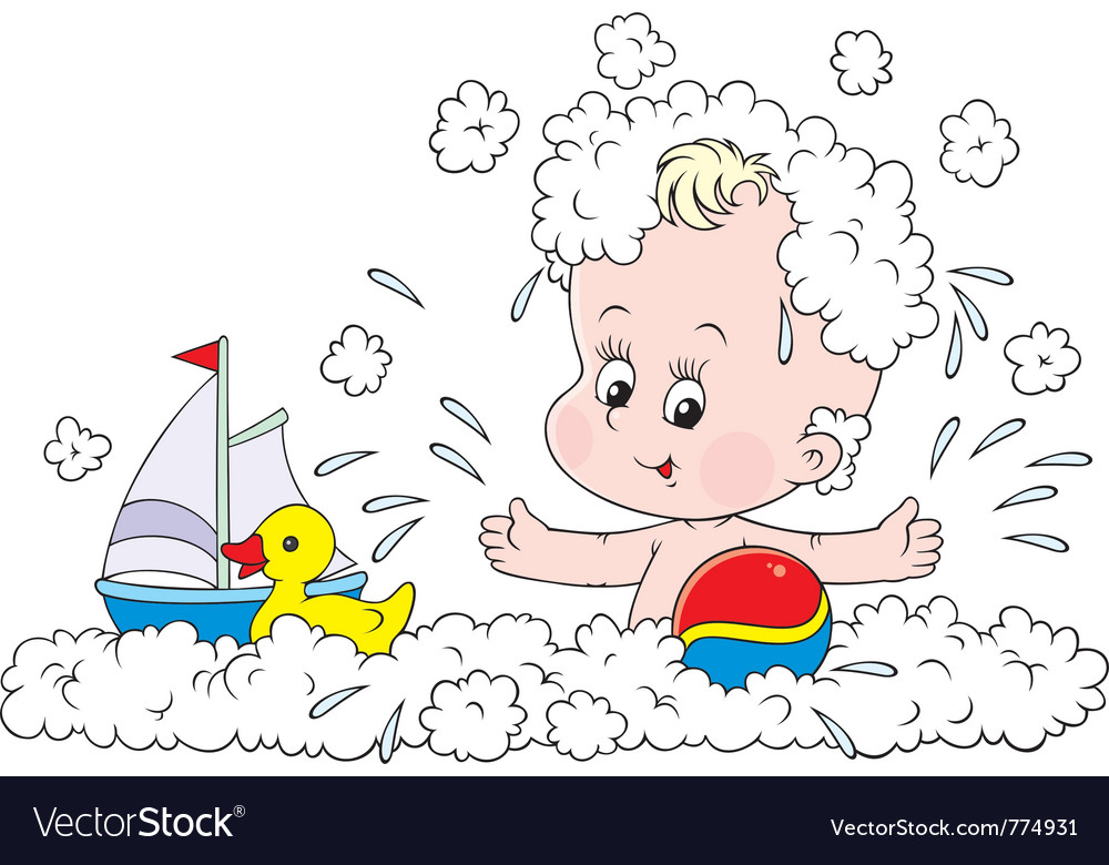 Bathing toddler vector | Price: 3 Credit (USD $3)
