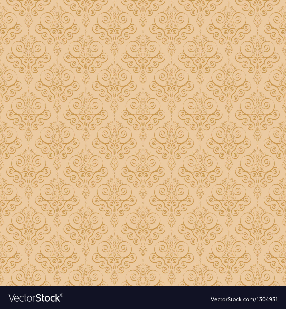 Beige colors damask style pattern design vector | Price: 1 Credit (USD $1)