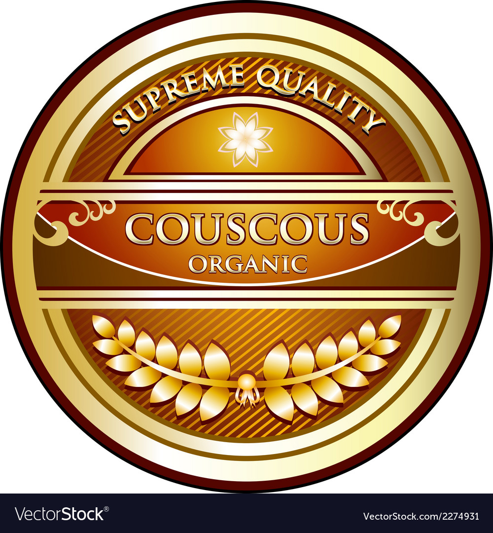 Couscous organic label vector | Price: 1 Credit (USD $1)