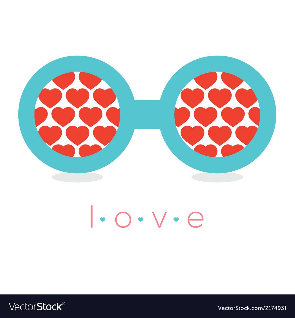 Hearts reflection eyeglasses vector | Price: 1 Credit (USD $1)