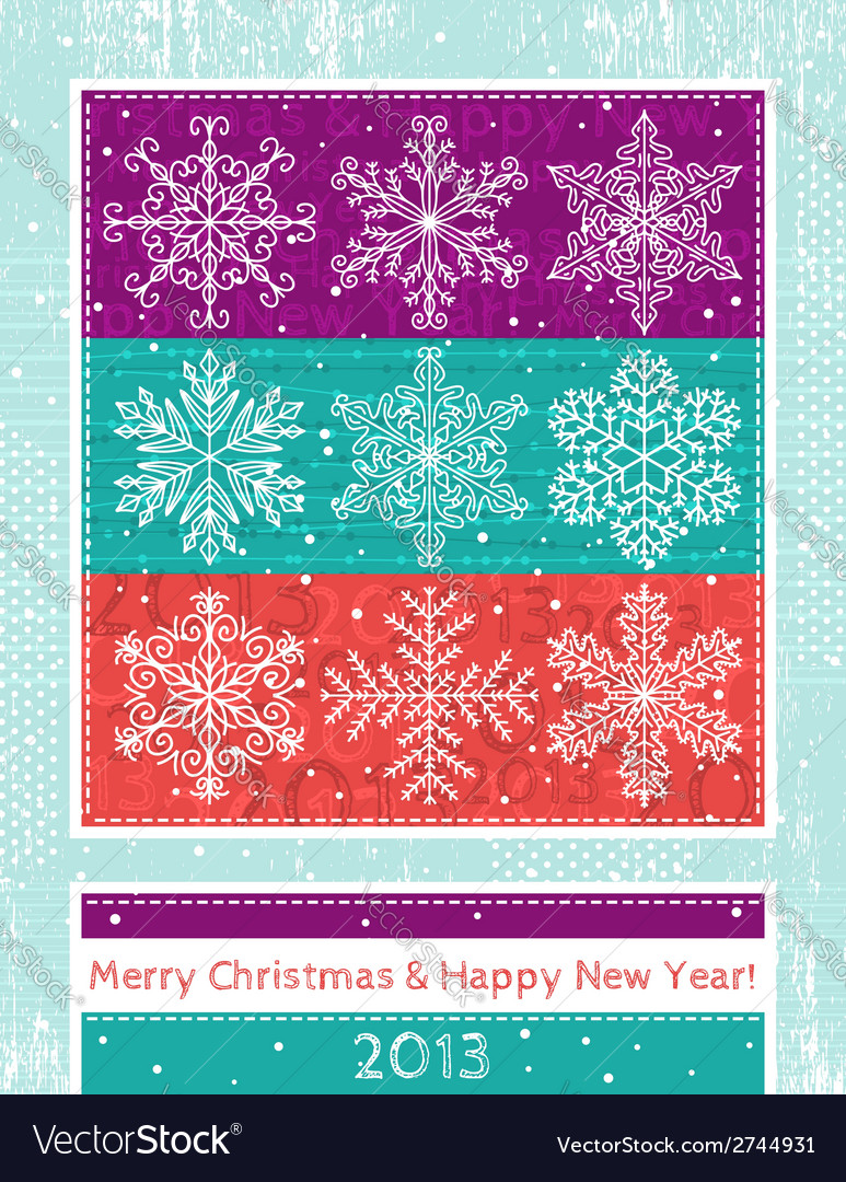 Retro christmas background with hand draw snowflak vector | Price: 1 Credit (USD $1)