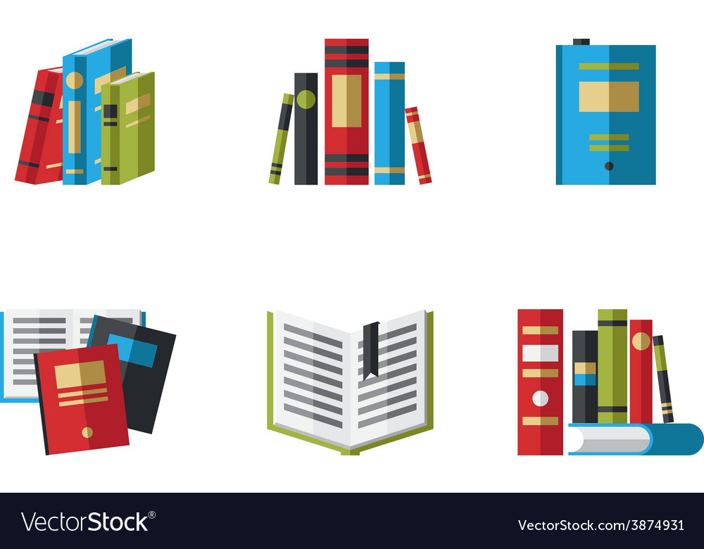 Set of book icons in flat design style vector | Price: 1 Credit (USD $1)