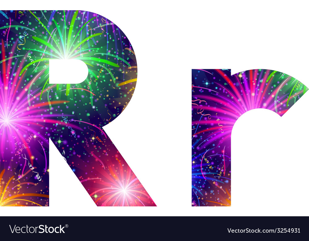 Set of letters firework r vector | Price: 1 Credit (USD $1)