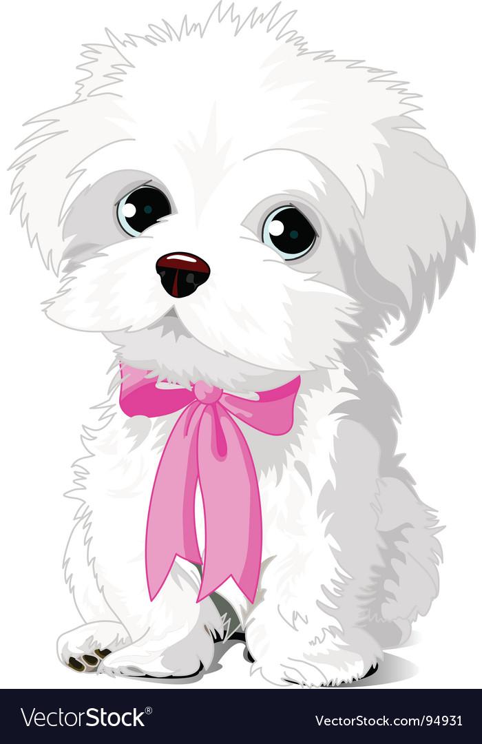 White puppy vector | Price: 1 Credit (USD $1)