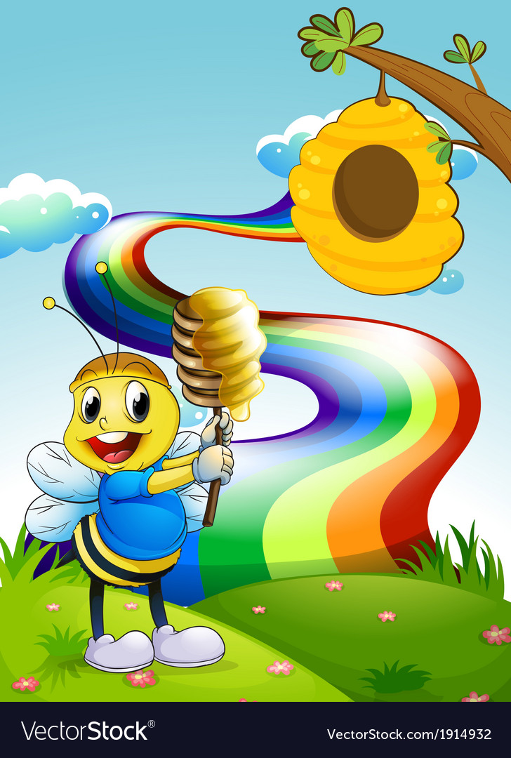 A bee at the hilltop with a rainbow in the sky vector | Price: 3 Credit (USD $3)