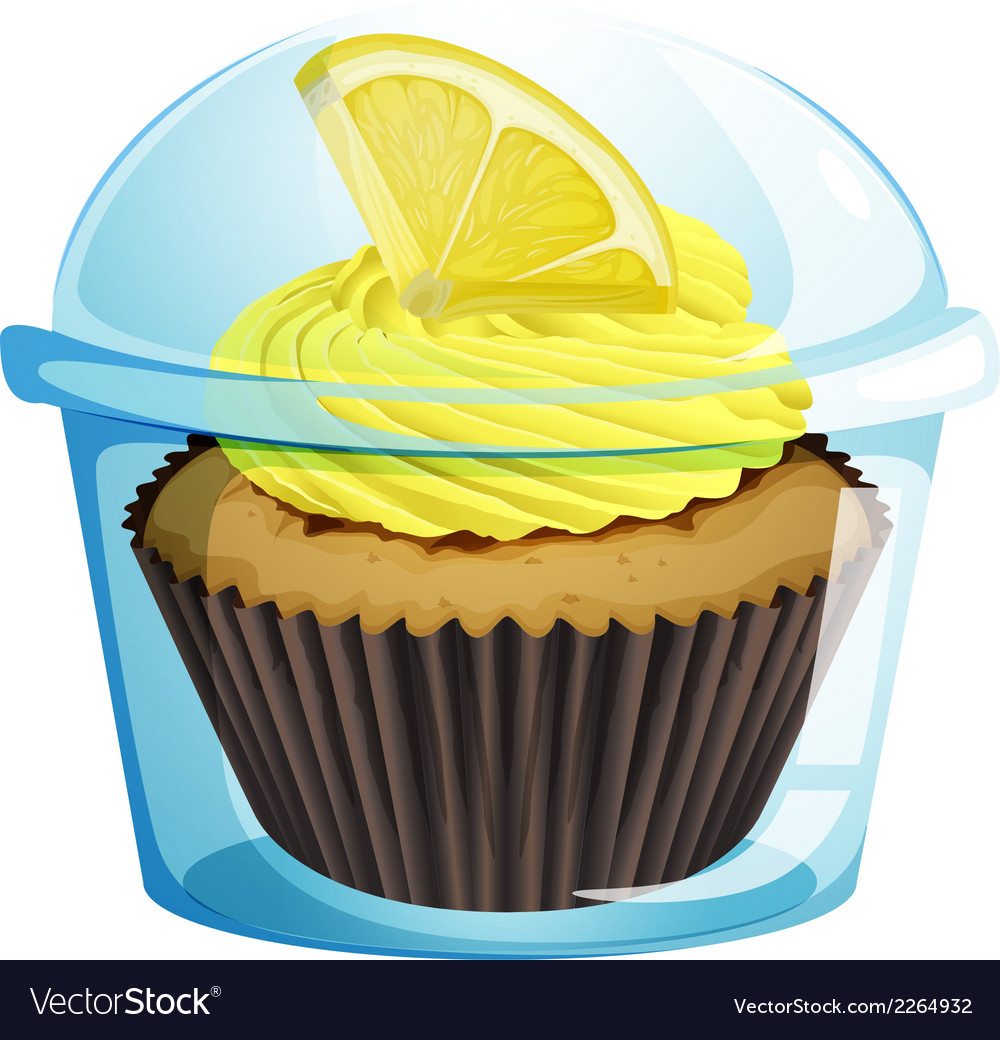 A disposable cup with a mocha-flavored cupcake vector | Price: 1 Credit (USD $1)