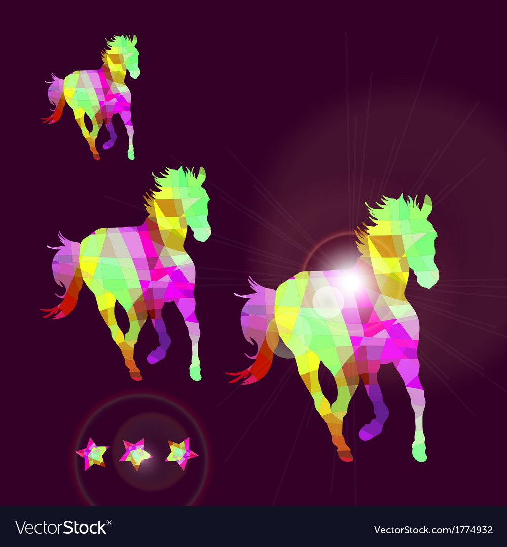 Abstract horse of geometric shapes with stars vector | Price: 1 Credit (USD $1)