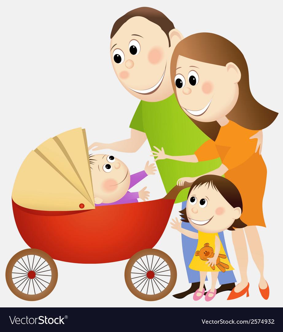 Cartoon happy family vector | Price: 1 Credit (USD $1)