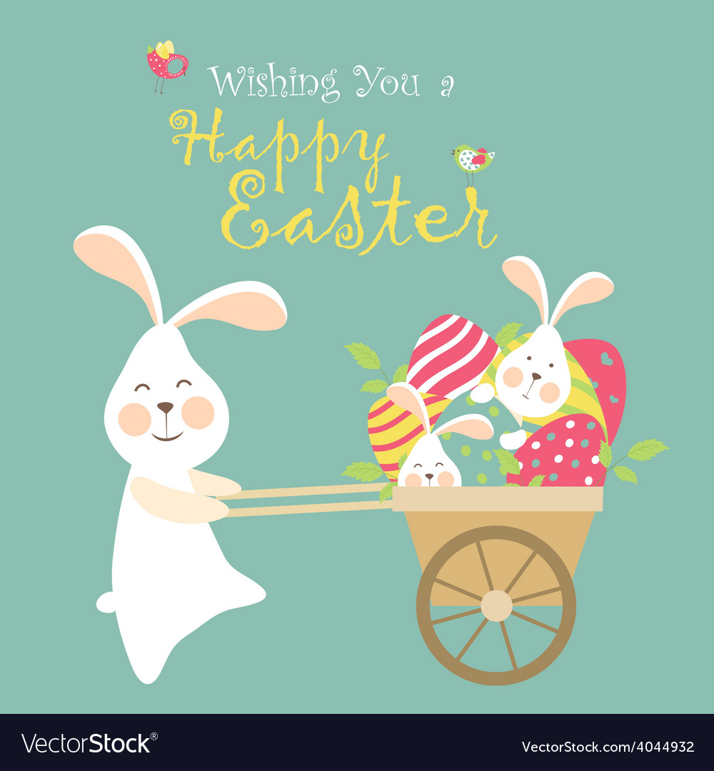 Easter bunnies and easter eggs vector | Price: 1 Credit (USD $1)