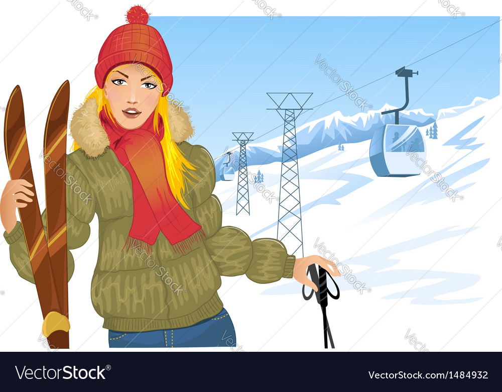 Girl with skis on the background with cable-way vector   Price: 3 Credit (USD $3)