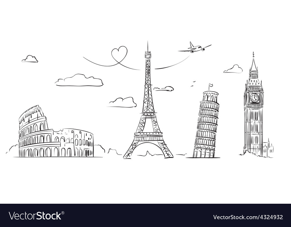 Hand drawn sights of europe vector | Price: 1 Credit (USD $1)