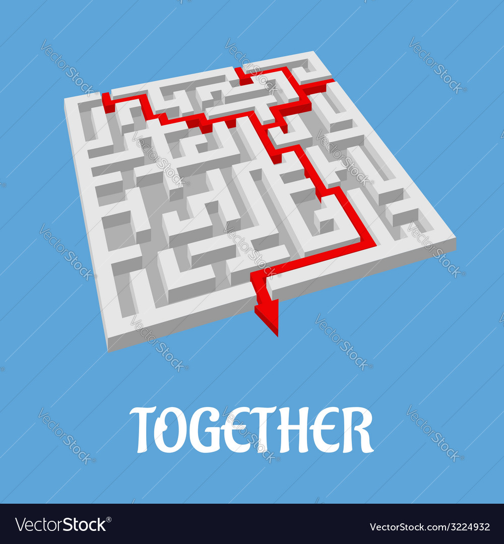 Labyrinth puzzle showing two alternative routes vector | Price: 1 Credit (USD $1)