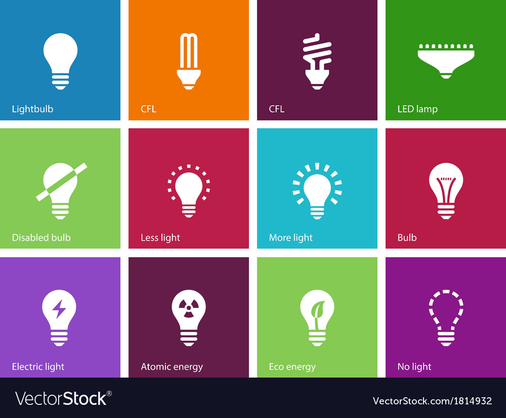 Light bulb and cfl lamp icons on color background vector | Price: 1 Credit (USD $1)