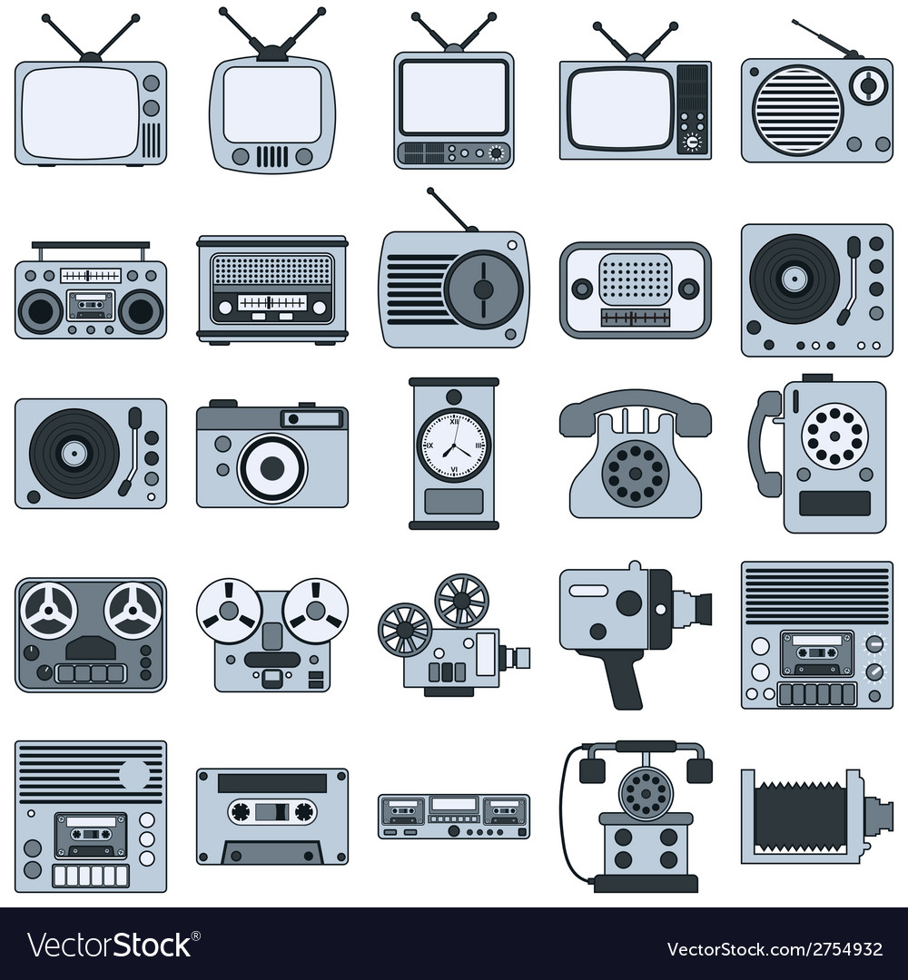 Retro electronic icons vector | Price: 1 Credit (USD $1)