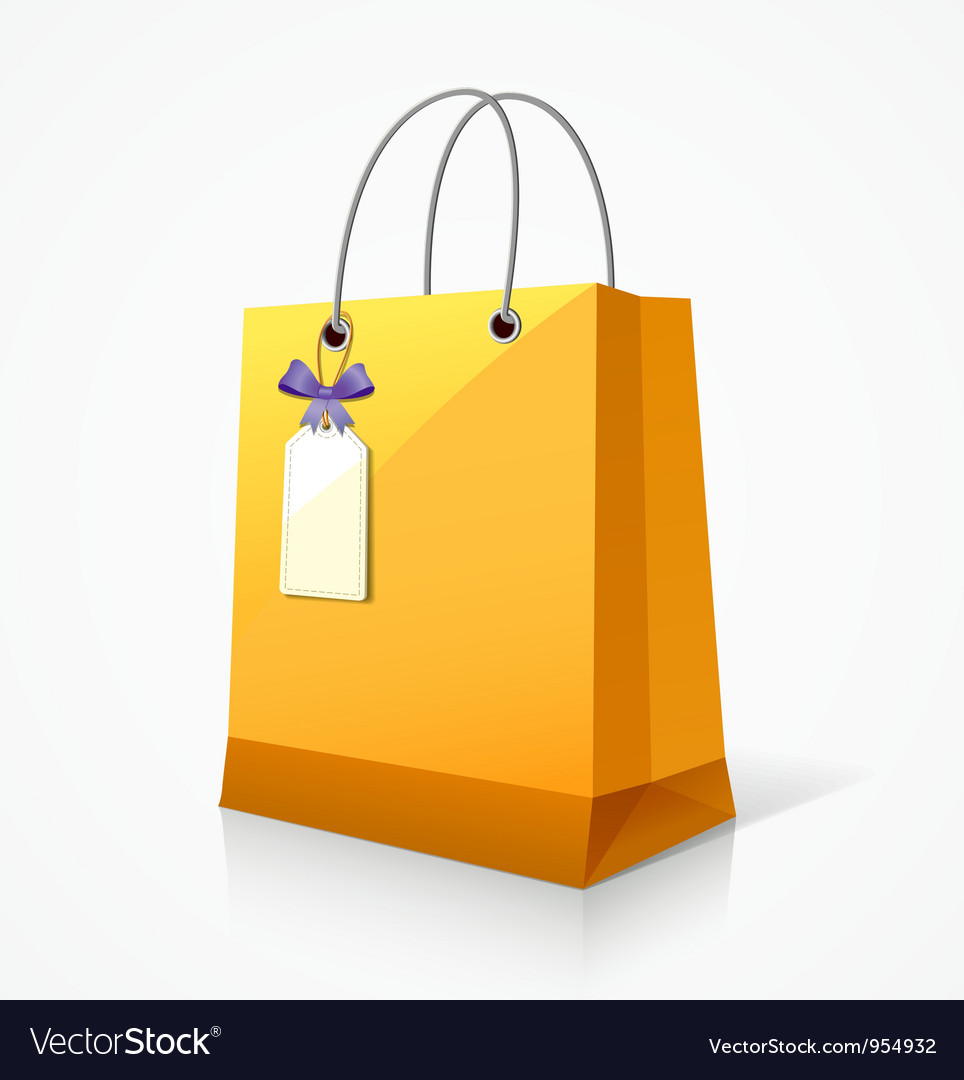 Shopping yellow paper bag vector | Price: 1 Credit (USD $1)