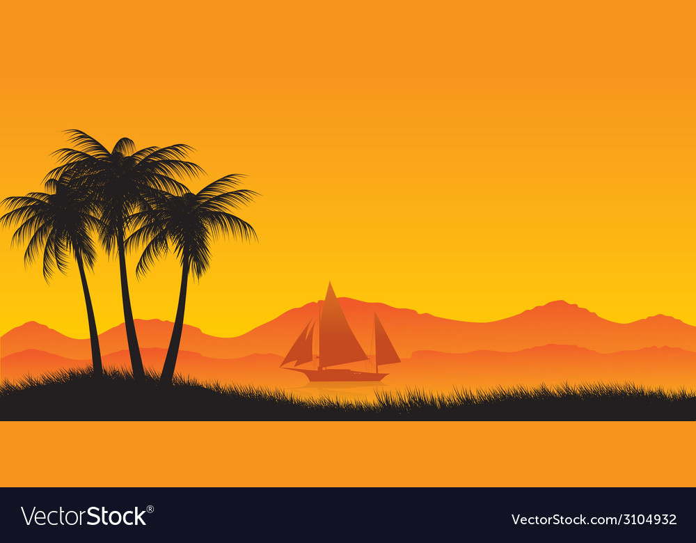 Three palm trees against the ocean and the yacht vector | Price: 1 Credit (USD $1)