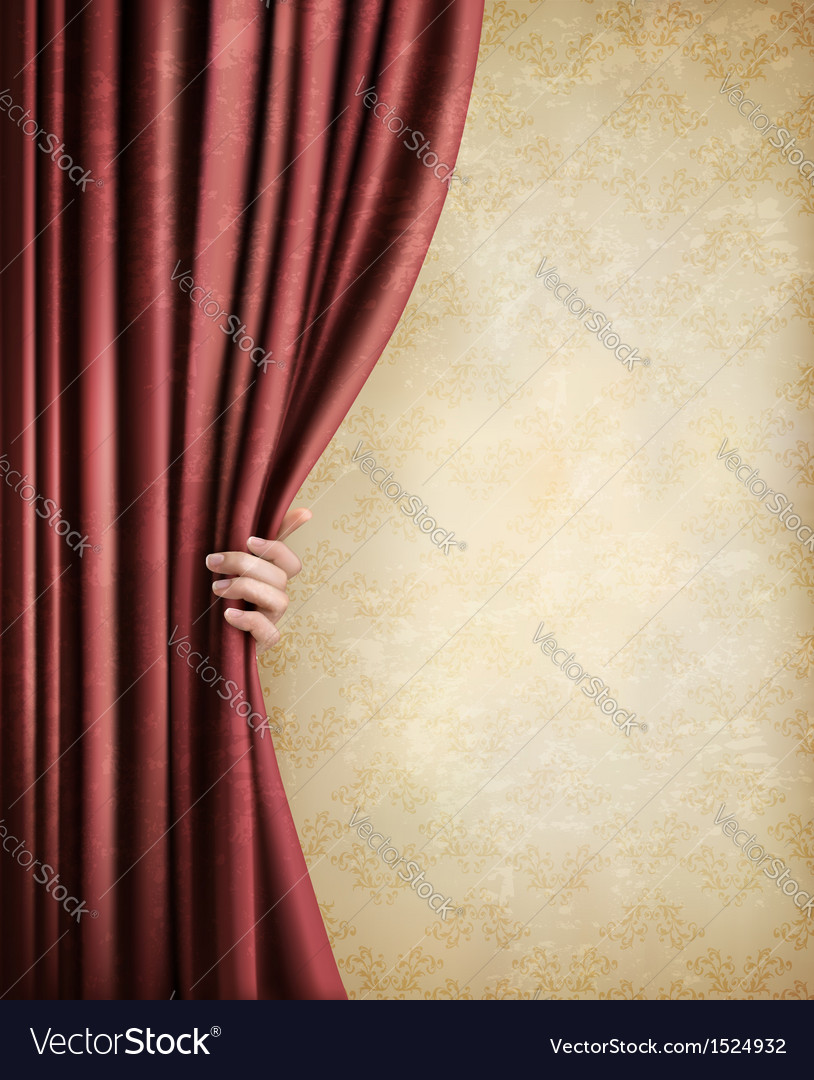 Vintage background with red old curtain and hand vector | Price: 1 Credit (USD $1)