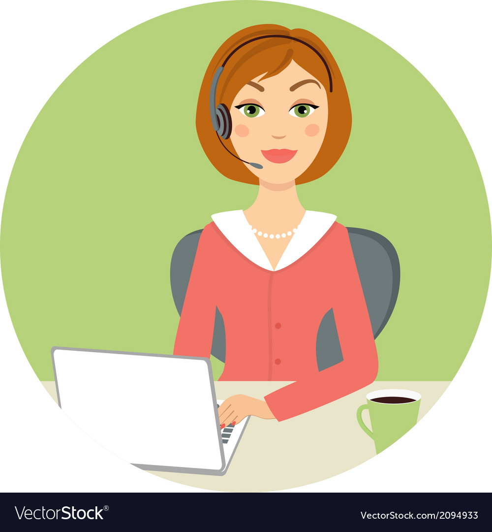 Beautiful call center woman vector | Price: 1 Credit (USD $1)
