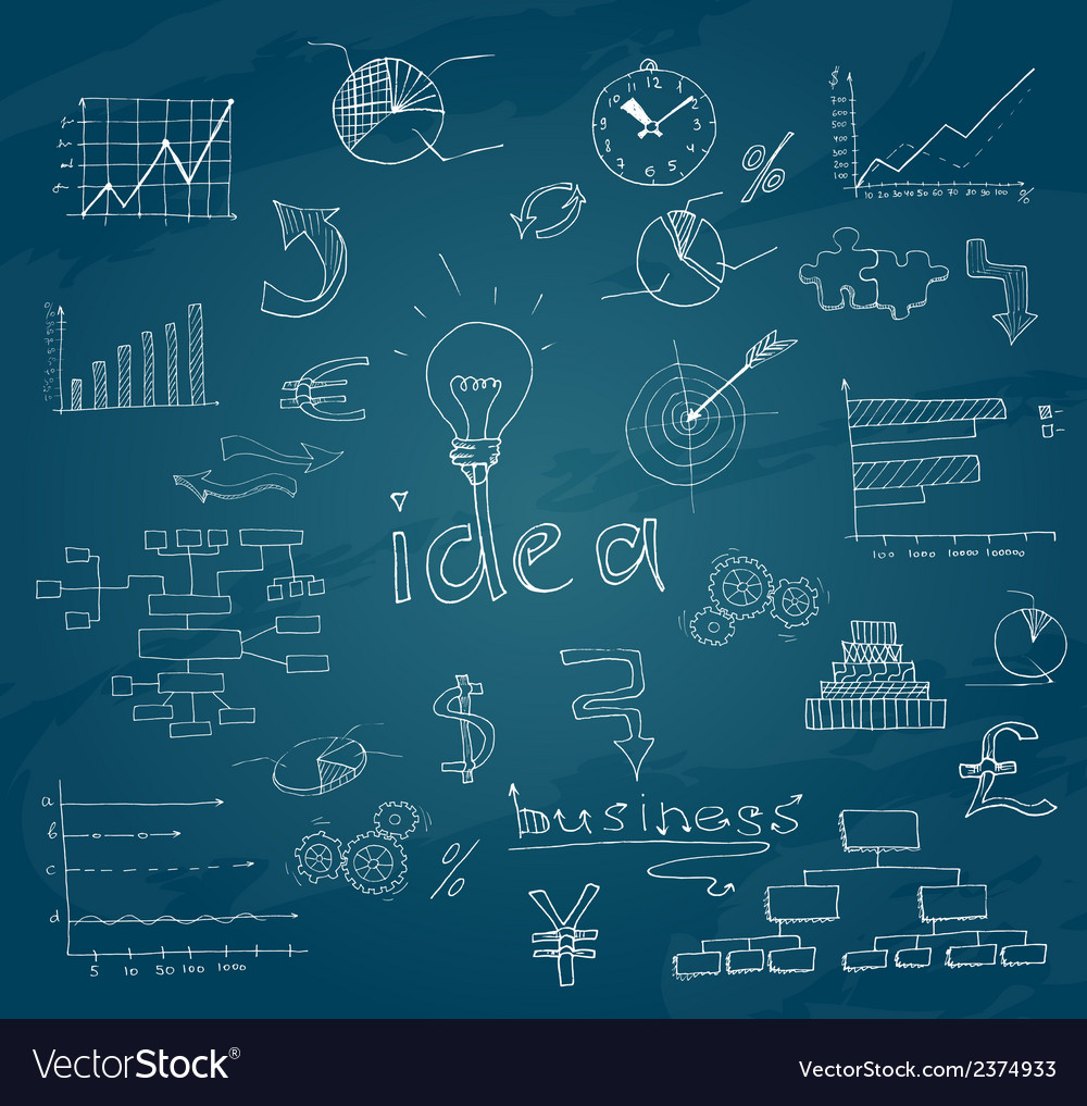 Business sketch chalkboard vector | Price: 1 Credit (USD $1)