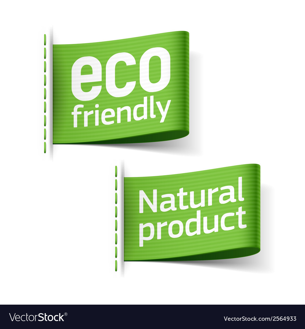 Eco friendly and natural product labels vector | Price: 1 Credit (USD $1)