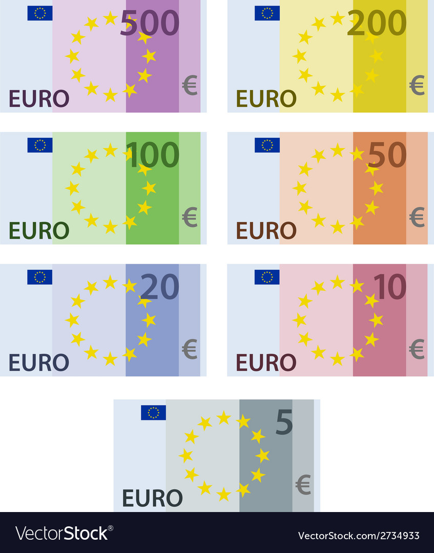 Euro paper bill banknotes vector | Price: 1 Credit (USD $1)