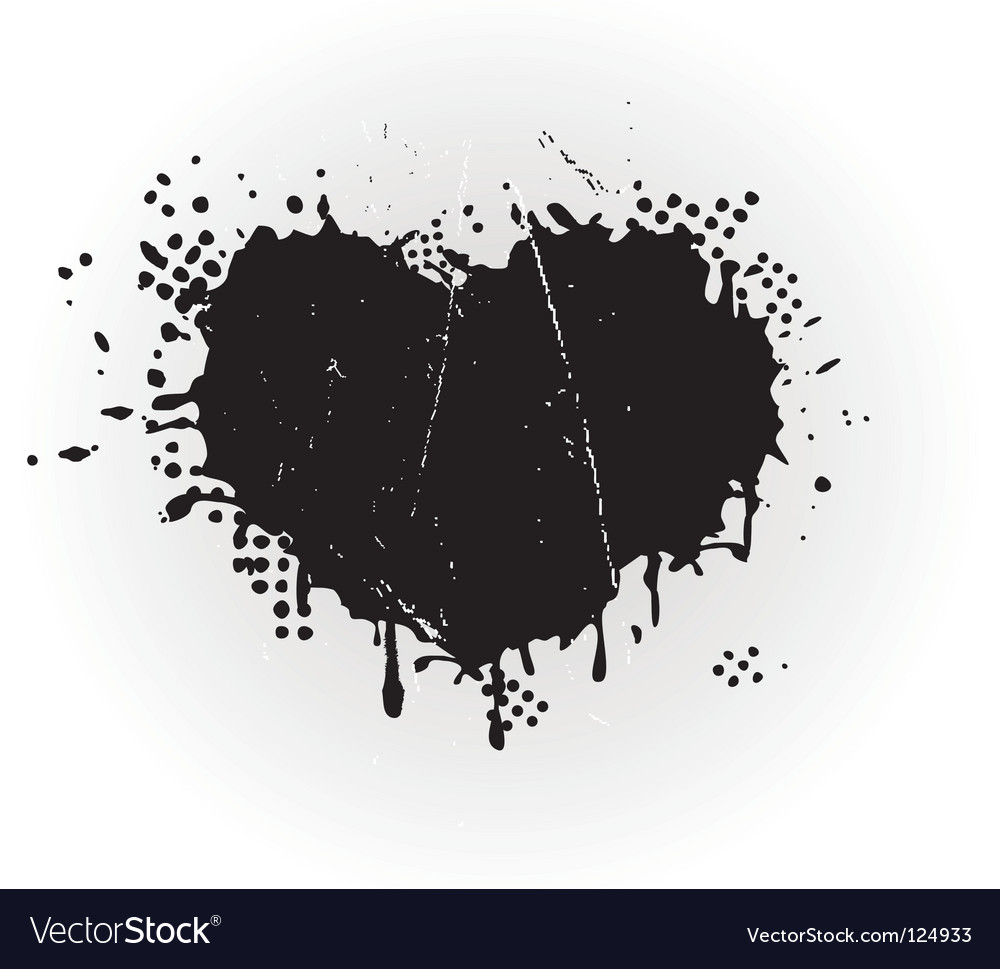 Heart shaped grungy ink splat vector | Price: 1 Credit (USD $1)