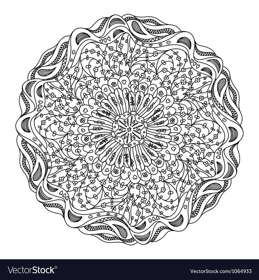 Monochrome black and white lace ornament vector | Price: 1 Credit (USD $1)