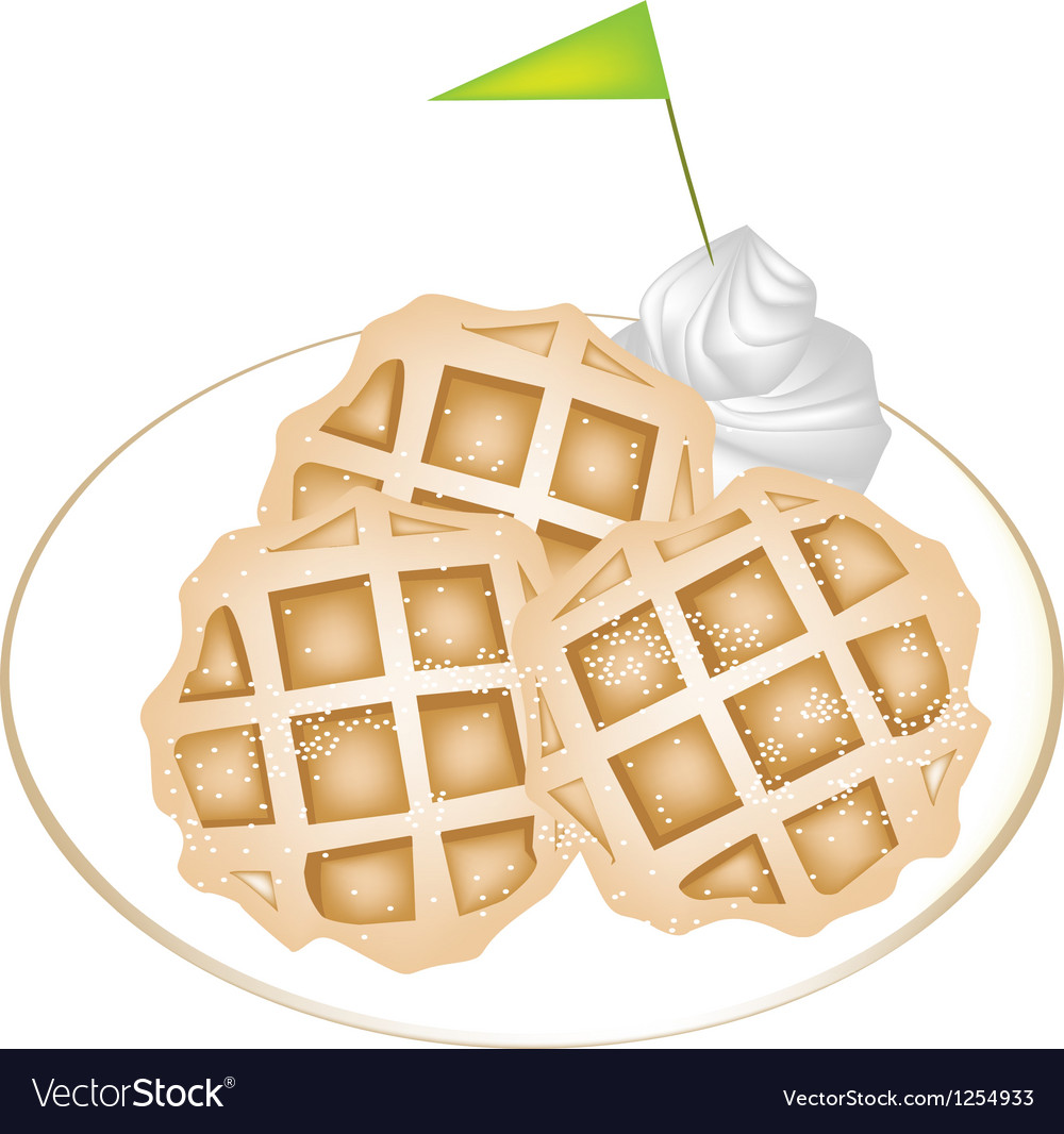 Three baked waffles with icing and whipped cream vector | Price: 1 Credit (USD $1)