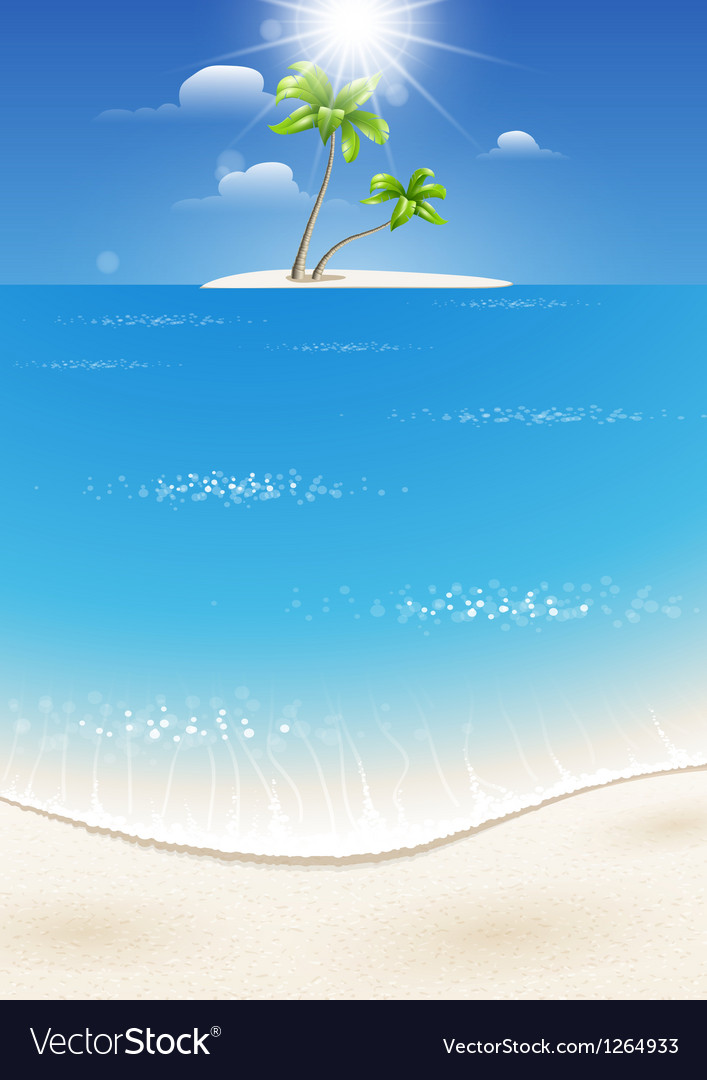 Tropical island in the sea vector | Price: 1 Credit (USD $1)