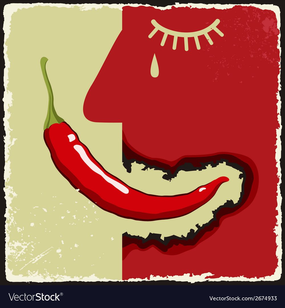 Vintage poster with chili pepper vector | Price: 1 Credit (USD $1)