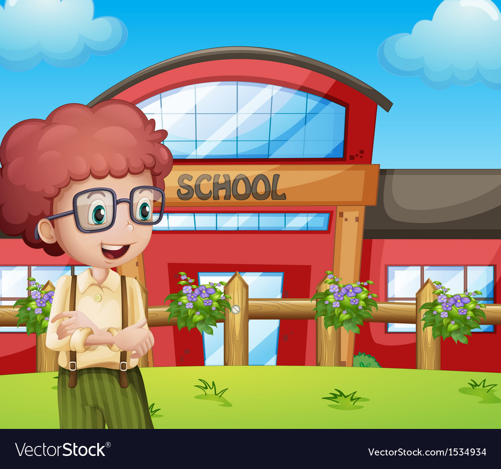 A boy with a school building at his back vector | Price: 1 Credit (USD $1)